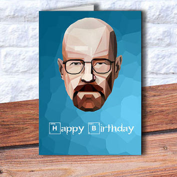 NEW birthday card Breaking Bad inspired blue crystals background card Heisenberg card Walter White blank card anniversary card paper goods