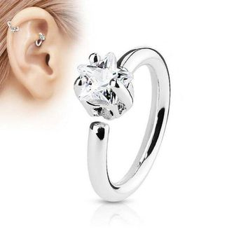 ac ICIKO2Q silver gold colour Titanium star zircon Septum Clicker Hoop Nose Ring Bone ear Piercing Body Jewelry