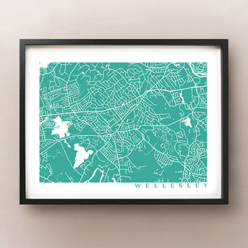 Wellesley Map Print - Massachusetts Poster