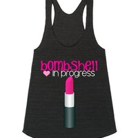 Bombshell With Lipstick-Female Athletic Tri Black Tank