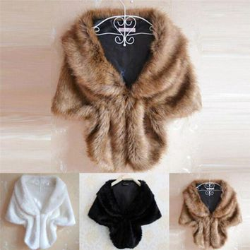 LMFN3C Women Lady Plush Faux Fur Shawl Wrap Bridal Wedding Jacket Gilet Stole Waistcoat Bolero Shrug Cape Black White Brown Stylish