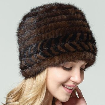 Real Mink knitting Fur hats fashion Elastic thickening Autumn and winter Woman Fur Hat dome With liner Russia Female Warm caps