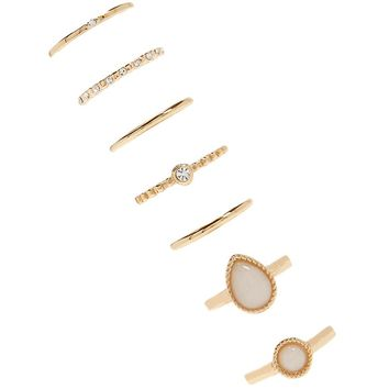 Faux Stone Stackable Ring Set