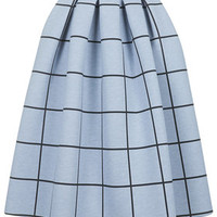 Grid Print Bonded Midi Skirt - Pale Blue