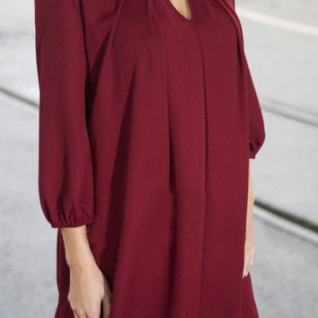 Round Neck Cutout Front 3/4 Length Sleeve Plain Dress