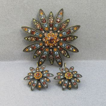 1990's Vintage Joan Rivers Bronze Amber Swarovski Rhinestone DAISY Pin & Earrings Set