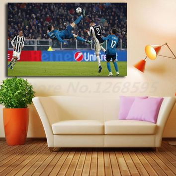 Cristiano Ronaldo Overhead Kick In Real Madrid Against Juventus Art Canvas Poster Painting Wall Picture Print Home Bedroom Decor