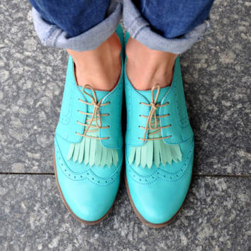 Hendrick - Womens Leather Derbys, Brogued Oxfords, Fringe shoes, Vintage Shoes, Turquoise Shoes, Derby Shoes, FREE customization!!!