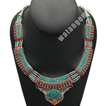 Ethnic Tribal Nepalese tribal Red Coral & Turquoise Inlay Boho Necklace, E216