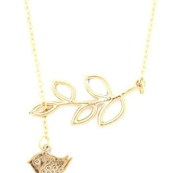 Bird and Branch Necklace Gold Tone Cut Out Pendant NR13 Retro Fashion Jewelry