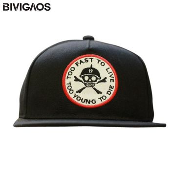 2016 New Arrival Fashion Unisex Skull Embroidery Skateboard Hiphop Hip-hop Hats Baseball Caps Casual Cap For Men Women Snapbacks