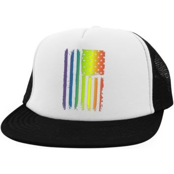 Gay Pride Trucker Hat American Rainbow Flag