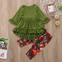 Toddler Girls Spring/Autumn Floral Pants and Shirt Outfit