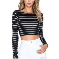 AMUSE SOCIETY Rene Crop Top in Black Sands