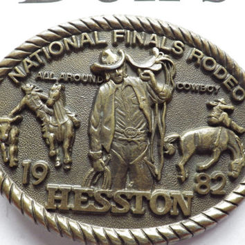 National Final Rodeo 1982 Hesston Brass The All-Around Cowboy Vintage
