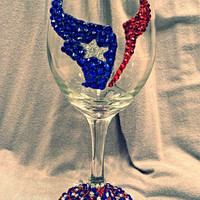 Houston Texans football sports team Crystal wine glass (10 oz/20 oz available)