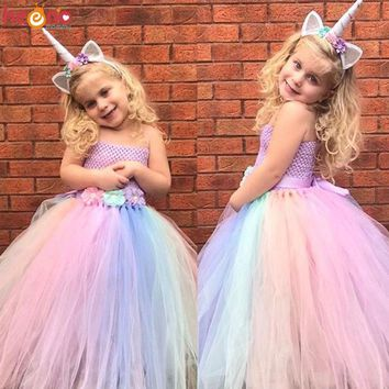 Flower Girls Dress with Hair Hoop Girl Unicorn Rainbow Ankle Length Ball Gown for Birthday Party Wedding Children Photo Props