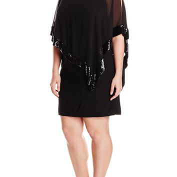 NEW! CHIASSO  Women's Short Ity Dress With Sequin Trim Chiffon Overlay MEDIUM BK