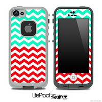 Trendy Green and Red Chevron Pattern Skin for the iPhone 5 or 4/4s LifeProof Case