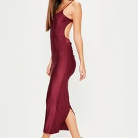 Missguided - Burgundy Ribbed Backless Ruched Back Midi Dress