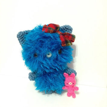 Amigurumi Cat Amigurumi Bunny Crochet Bunny Crochet Cat  Fuzzy Cat Crochet Doll Plush Stuffed Toy Hair Bow Kawaii Cat Holiday Gift Ideas
