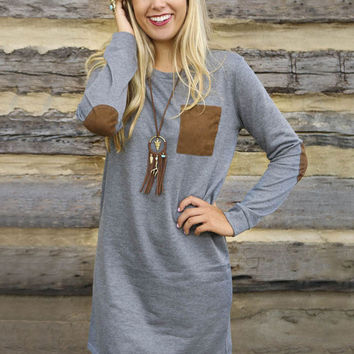 Gray Elbow Patch Stitching Long-Sleeved Mini A-Line Dress