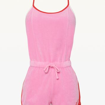 JXJC MICROTERRY STRAPPY LOGO ROMPER