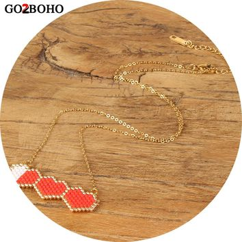 Go2boho Dropshipping Love Necklace 3 Heart Pendant Necklaces Chain Choker Women Jewelry MIYUKI Seed Beads Valentine's Day Gift