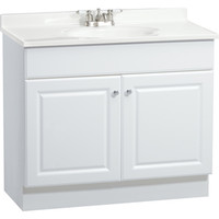 Shop Project Source White Integral Single Sink Bathroom Vanity with Cultured Marble Top (Common: 37-in x 19-in; Actual: 36.5-in x 18.5-in) at Lowe's