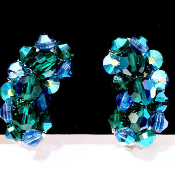 Aurora Borealis Crystal Earrings Emerald Green Beaded  Ear Climber Cluster Clip On  Blue Bicone Beads  Silver Tone Mid Century Vintage 1950s