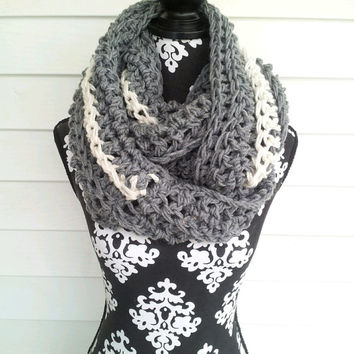 End of Season Sale Was 49 Now 30  Grey Gray Chunky Infinity Scarf with Cream Winter White Contrast Stripe