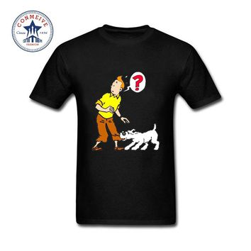 Hipster Basic Tops Funny cartoon tintin adventure Funny Cotton T Shirt for men