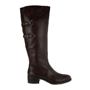 Isaac Mizrahi Live! Wide Calf Expresso Riding Boots with Straps