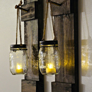 Rustic Mason Jar Sconces/Home Decor/ Mason Jar/Reclaimed Wood Candle Holder/Country Decor/Cabin Decor