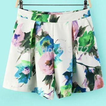 Women pleated floral print shorts zipper pockets shorts casual slim designer shorts