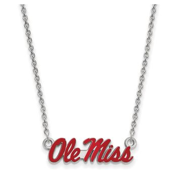 NCAA Sterling Silver U of Mississippi Small Enamel Pendant Necklace
