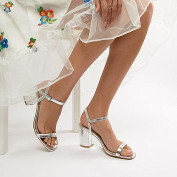 Glamorous Wide Fit Silver Block Heeled Sandals at asos.com