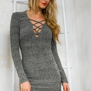 Gray Knitted Slim Dress Gift 212