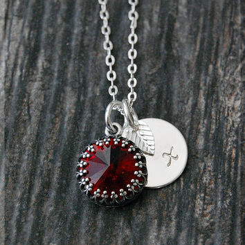 Garnet January Birthstone Necklace, Silver Initial Charm Necklace, Personalized Birthstone Necklace, January Birthstone Charm. Swarovski