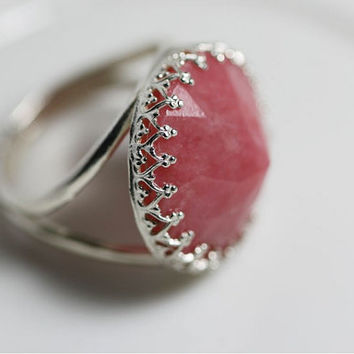 Pink Ring with Gemstone Rhodonite. Sterling Silver Ring with Faceted Rhodonite