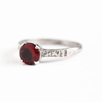 Vintage Sterling Silver Art Deco Garnet Ring - 1930s Size 6 Dark Red Approx. 1 Carat Genuine Gem January Birthstone Flower Setting Jewelry