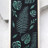 Zero Gravity Fern Black Embroidered iPhone 7 Case