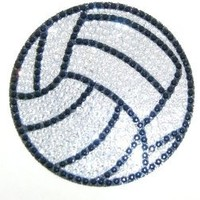 Silver Volleyball Crystal Rhinestone Removable Decal Sticker