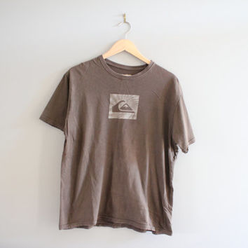 Quicksliver Graphic Tee Plain Brown Minimalist Cotton Vintage 90s Size L #T128A