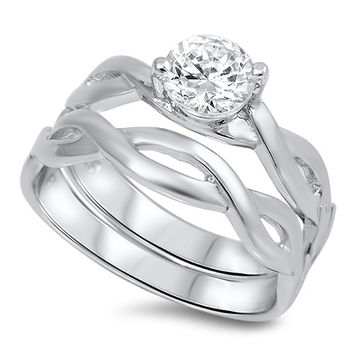 Sterling Silver CZ Infinity Band Solitaire Wedding Ring Set 5-10