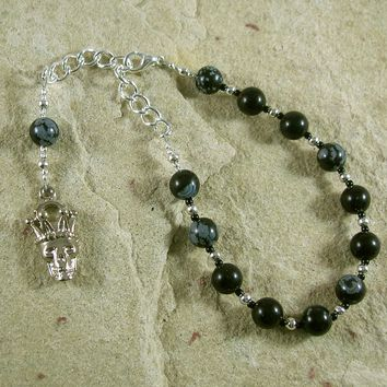 Hades Prayer Bead Bracelet in Snowflake Obsidian: Greek God of Death and the Afterlife