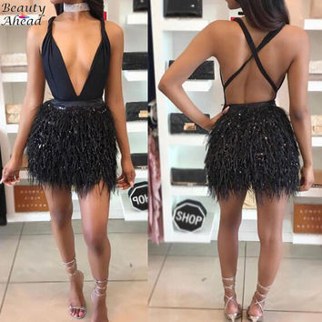 High Quality Sexy Women Faux Fur Luxuly Bandage Dress 2016 Deep V Neck Halter Cross Back Tassels Celebrity Bodycon Feather Dress