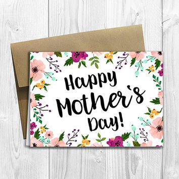 Floral Watercolor Happy Mother's Day -  5x7 PRINTED Greeting Card - Notecard
