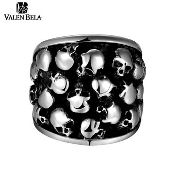 VALEN BELA Small Skulls Punk Ring Men 316L Stainless Steel Party Jewelry 2017 Drop Ship Mens Rings Anel Masculino JZ5456