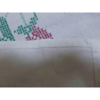 Hand Embroidered Table Cloth Cover Pink Flowers Hand Sewn Vintage
